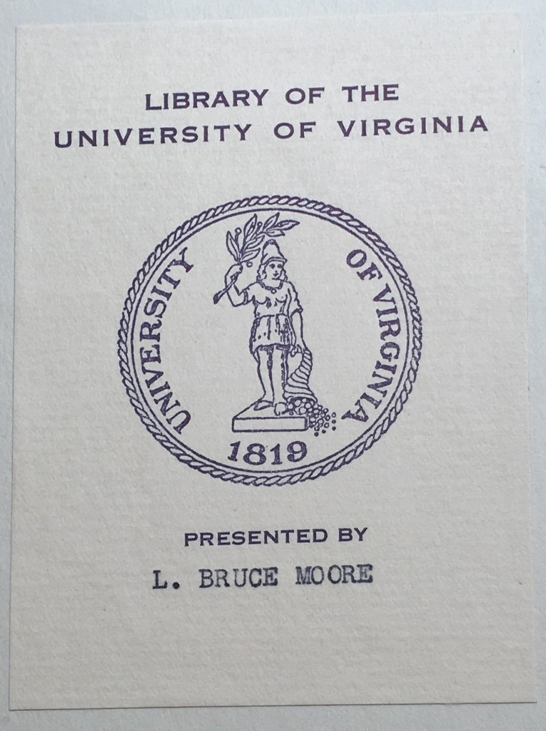 The bookplate of presenter L. Bruce Moore inside the front cover