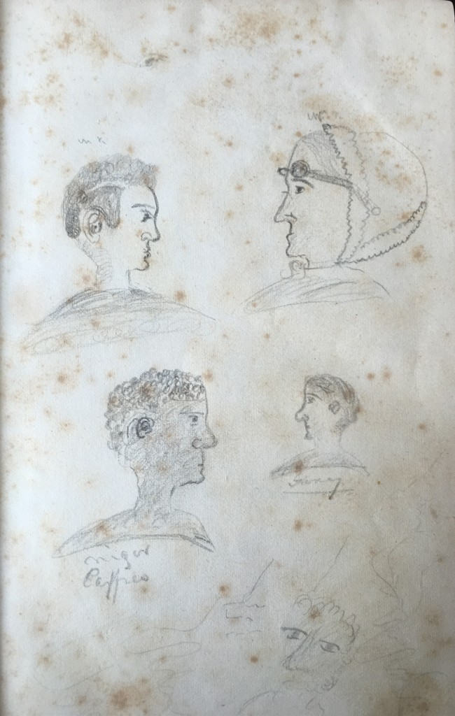 "Four portraits presented in profile: top left of an adult male, top right of an elderly female, middle left of a Black male, captioned ""Niger [sic], caffres"" (both pejorative terms) middle right a bearded adult male rendered much smaller and possibly captioned ""Jimmy."" In the bottom center an amorphous front view of a possibly Black face."