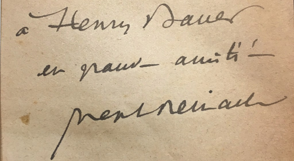 Joseph Reinach's near-illegible scrawl designates this book to be a gift to Heny Bauër.