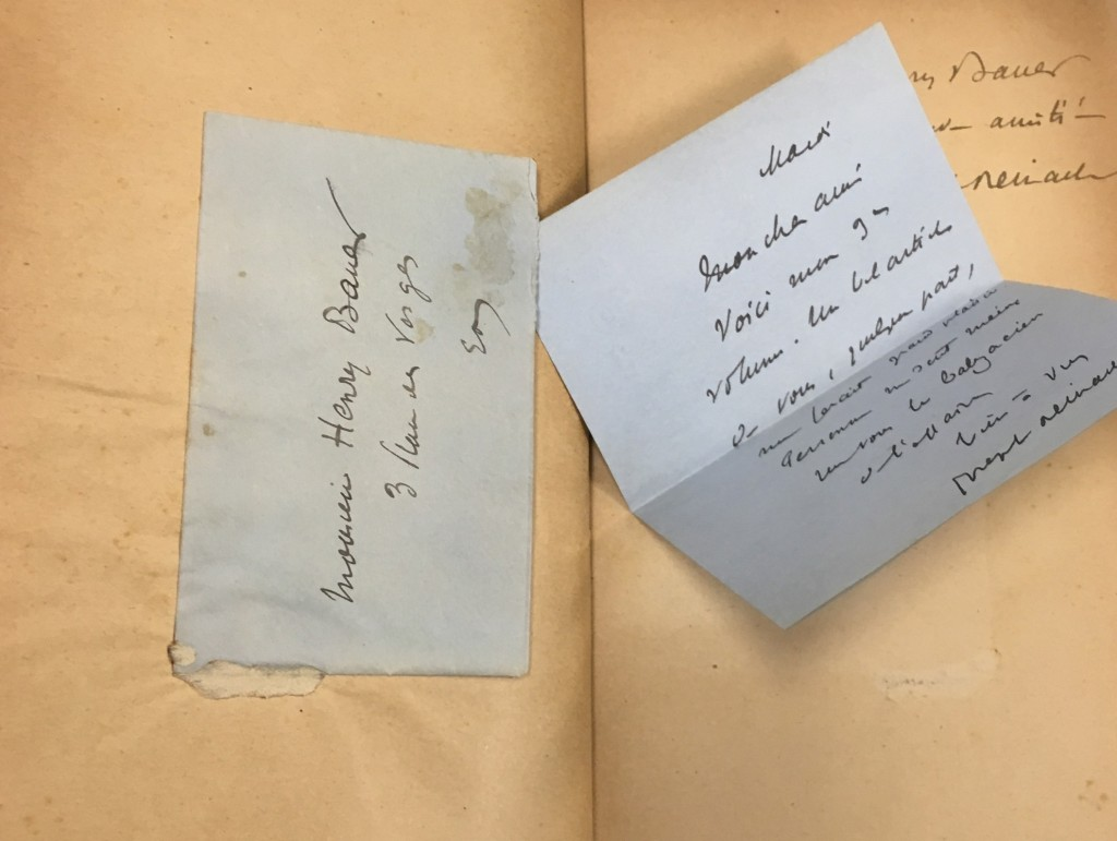 The delightful pocket pasted across from the cover page, shown with its folded note pulled out