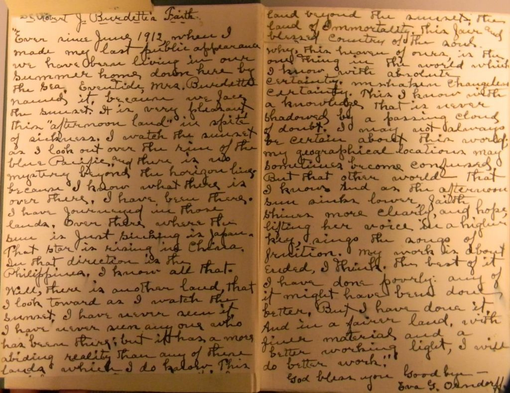 "Photograph of the letter on faith written by Robert Burdette and copied by hand onto sheets of paper pasted into a copy of the book ""God and the Struggle for Existence"" by BH Streeter, owned by the University of Virginia Library."